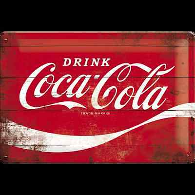 Targa in Latta Coca-Cola - Logo Red Wave 20 x 30 in metallo