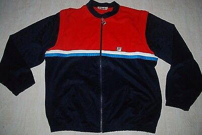 Vintage Fila Tracksuit Top Track Jacket Vest Zip Sleeveless Shiny Red Blue L Xl