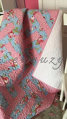 Shabby Chic Vintage Homemade handmade patchwork Baby Quilt Playmat