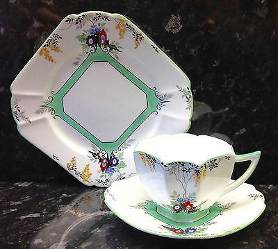 "Shelley Queen Anne Shape ""Flame Flowers"" Pattern Tea Cup Trio."