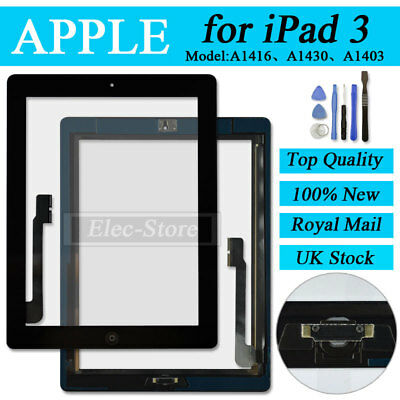 Black Screen For iPad 3 Touch Front Glass Digitizer Replacement With Home Button