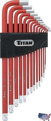 Titan Tools 12713 Extra-Long Arm Ball Tip SAE Hex Key Set, 13 Piece, New