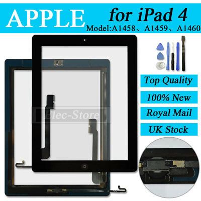 Black Screen For iPad 4 Touch Front Glass Digitizer Replacement With Home Button