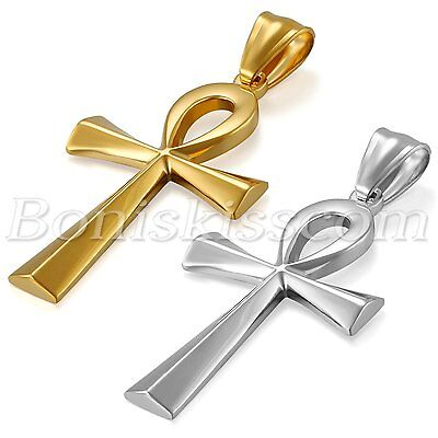 Stainless Steel Ancient Ankh Key Cross Egyptian Symbol Of Life Pendant Necklace