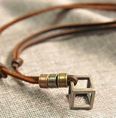 Jewellery Mans Men's Leather Silver Cube Pendant Necklace Chain Urban Fashion