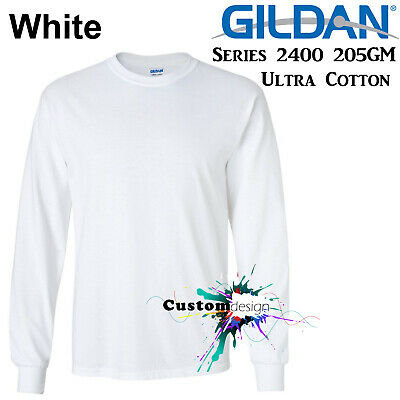 Gildan Long Sleeve T-SHIRT White blank plain tee S-3XL Men's Ultra Cotton jumper