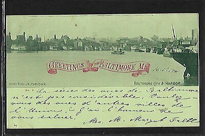 BALTIMORE (Md.) - City & Harbor - Early Private Mailing Postcard