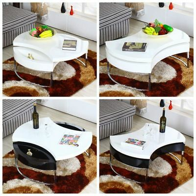 New Design High Gloss Coffee Table w/ Black/White Tempered Glass Top Livingroom