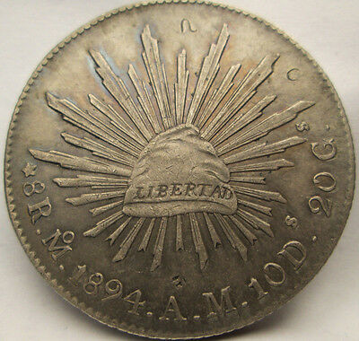 1894 8 REALES Silver Republica Mexicana Chopmarks Beautiful condition