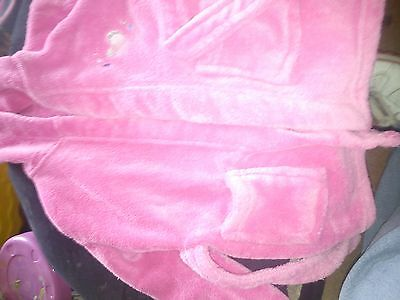 babys. pink hooded dressing gown 6_12 months.