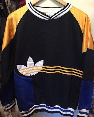 Vintage ADIDAS White Blue Yellow Black Sweatshirt. Size XL Made In Taiwan
