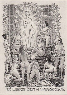 ex-libris erotique MARK SEVERIN gravure erotic etching bookplate erotica