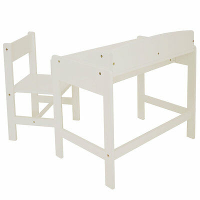 Classic White Desk and Chair, Kids Indoor / Outdoor Seat Set