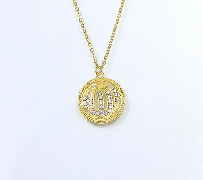 """18K Gold Filled Mohammed Muslim Allah Pendant Necklace 24"""" Stainless Steel Chain"""
