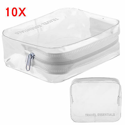 10 x HOLIDAY AIR TRAVEL TOILETRIES BAGS - Clear Plastic Airline Airport Bag