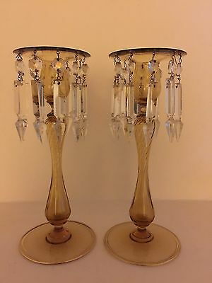 Sinclaire Optic Ribbed Honey Amber Blown Candlesticks W/ Prisms