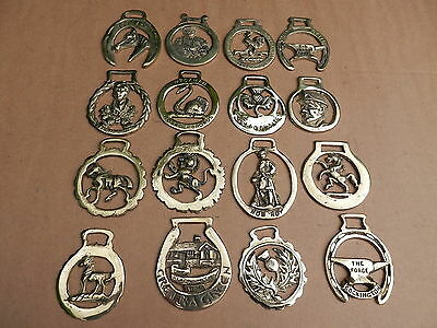 A Unique Collection Of 16 Rare And Vintage Horse Brasses.