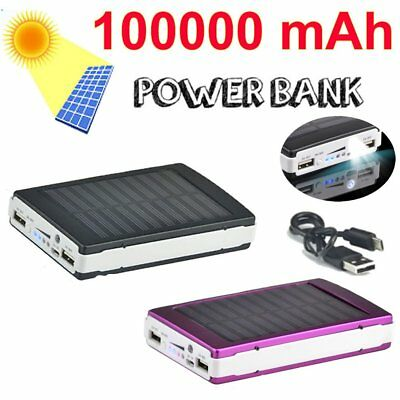100000mAh Portable Waterproof Solar Dual USB Charger Power Bank For Cell Phones