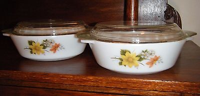 Two vintage Pyrex casserole dishes with lids Autumn Glory pattern