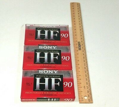3 Sony Audio Cassette tapes Blank HF 90 High Fidelity Bulk Bundle New