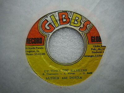 """Althia And Donna,Up Town Top Ranking,(DSR4083),Rare Jamaican press,7"""""""
