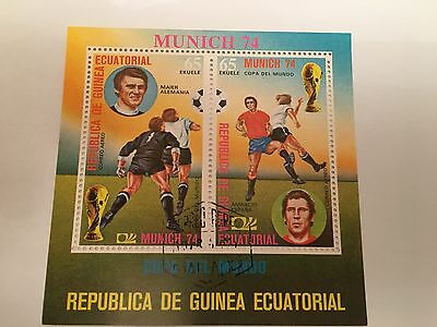 Equatorial Guinea Minisheet Used 1974 Football Munich World Cup Spain Germany
