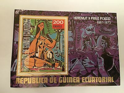 Equatorial Guinea Minisheet Used 1973 Pablo Picasso Painting Art