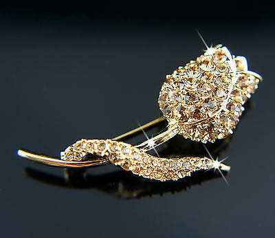 14k Gold plated rose flower with Swarovski crystals brilliant brooch pin