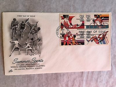United States Usa Us Fdc 1983 Art Craft Olympics Sports Volleyball Fencing