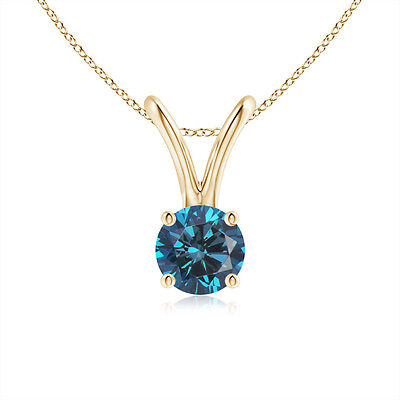 "Round Enhanced Blue Diamond Solitaire Pendant Necklace 14K Yellow Gold 18"" Chain"