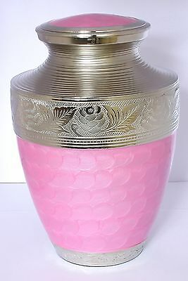 Large Urns for Ashes,  Adult Cremation Funeral Memorial, Metallic Pink Brass urn