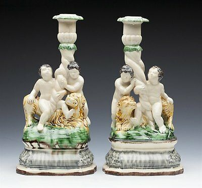 Antique Pair Creamware Wheldon Cherub & Lion Candlesticks 18/19Th C.
