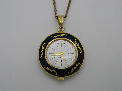 Vintage Swiss Heno Ladies Gilt Metal & Enamel Mechanical Necklace Fob Watch
