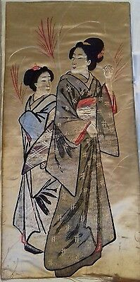Two Japanese vintage silk panels. Kimono lady and a gentleman.