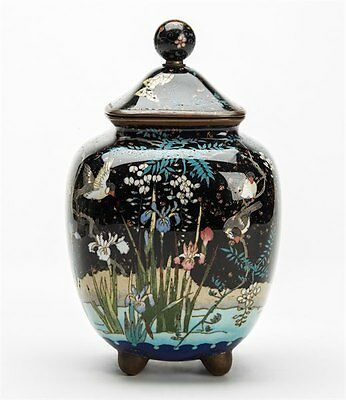 Japanese Cloisonne Birds Amidst Wisteria Lidded Jar Meiji 19Th C.