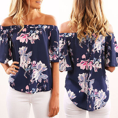 Summer Womens Floral Casual Blouse Short Off Shoulder Ladies Loose T Shirt Tops