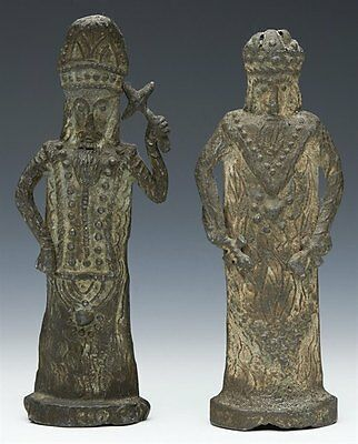 Pair Antique Billy & Charley Lead Medieval Figures C.1850