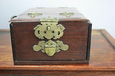 19th/20th C. Chinese Redwood Rectangular Dressing Case With Mirror