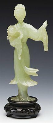 Antique Chinese Jade Figure Of A Lady On Stand C.1900