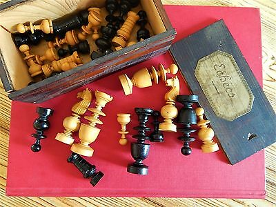 Antique French  Hand Turned Wood Chess Pieces ( 32) ,With the box