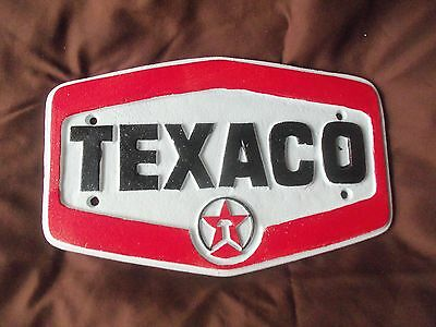 Cast Iron Wall Mounted Texaco Sign Gas Station Plaque Hard To Find