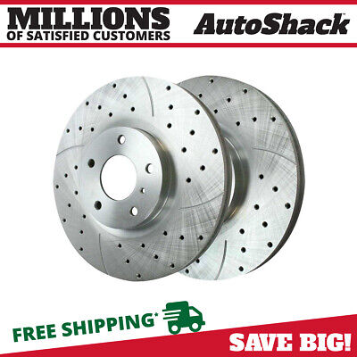 Front Pair Performance Drilled and Slotted Zinc Brake Rotors for Nissan Infiniti