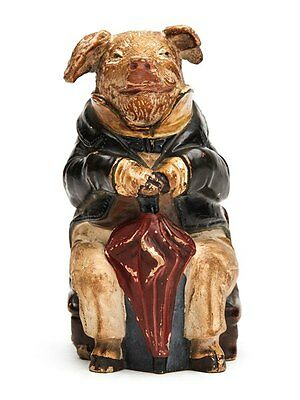 Antique Johann Maresch Majolica Pig Money Box 19Th C.
