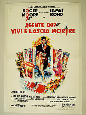 James Bond 007 LIVE AND LET DIE Poster Authentic Italian one sheet Linen Backed