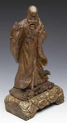 Antique Chinese Wooden Immortal Figure On Stand C.1900