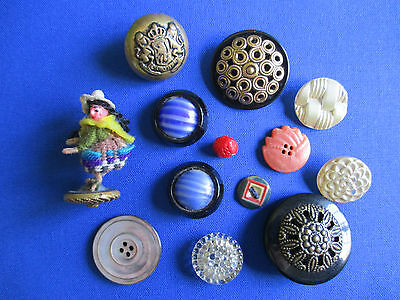 Old Collectable Antique Buttons, Brass, Glass,Shell FREEPOST