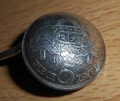 Coin spoon with Latvia 1931 silver 5 Lati
