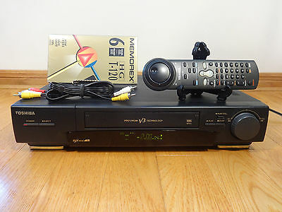 Toshiba M-751C 6-Head VHS VCR Video Cassette Recorder + Remote TESTED 100% Works