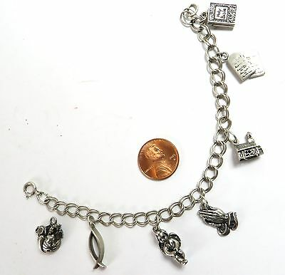 Vintage Sterling Silver Charm Bracelet & Seven Christian Religious Theme Charms
