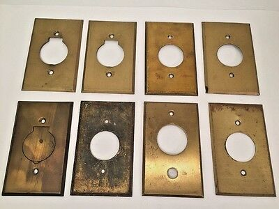 Lot Of Eight Vintage Antique Brass Round Outlet Covers And Switch Plates